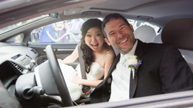 John and his wife driving away from their wedding at the harmony chapel in Aubrey Tx just north of Dallas